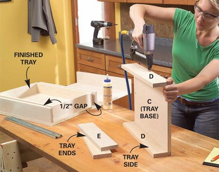 <b>Photo 5: Fasten the sides to the tray base first.</b></br> Cut the parts for the trays and glue and nail them together. Cut the bases perfectly square to keep the trays square.
