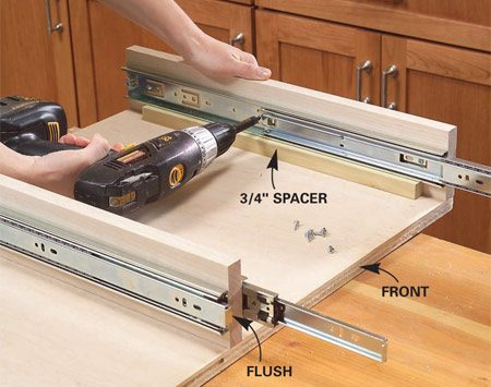 <b>Photo 6: Align the glide edges with the front of the partition</b></br> Set the drawer glides on 3/4-in. spacers, holding them flush with the front. Open them to expose the mounting holes and screw them to the partitions.