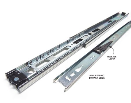 The release lever disengages the drawer section<br> from the cabinet section of the glide.