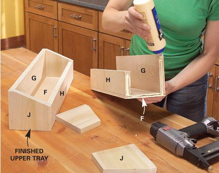 <b>Photo 9: Build the upper trays</b></br> Cut the parts for the upper trays, drill pilot holes, and glue and screw them together. Cut two thicknesses of plywood and glue them together to make the 1-in.-thick side cleats (K).