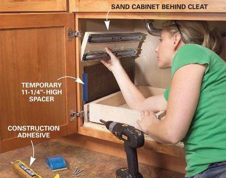 <b>Photo 11: Mount the cleats to the inside of cabinet</b></br> Sand the side of the cabinet to increase the adhesion, then glue and screw the cleats to the sides of the cabinet. Cut a plywood spacer to hold the cleat even.