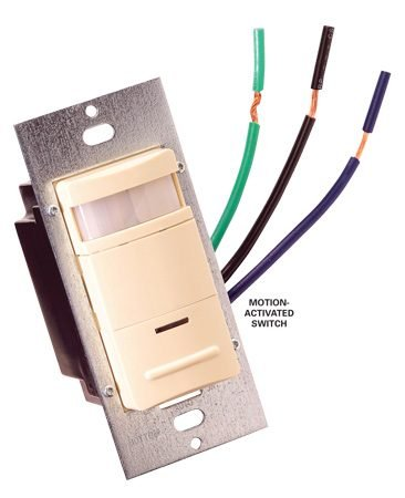 <b>Motion-activated switch</b></br> Example of a motion-activated switch for fluorescents with electronic ballasts.