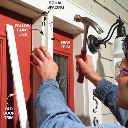<b>Photo 2: You may need a trim extension</b></br> Add a trim extension if needed to doors with sidelights. Prime and paint the new trim, position it with a reveal equal to the other trim and then nail it into place.