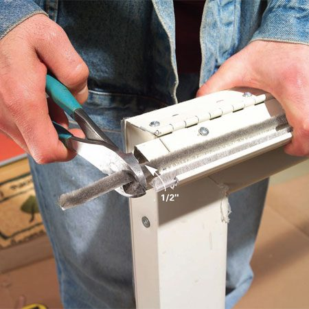 <b>Photo 5: Cut the weatherstripping</b></br> Center the weatherstripping in the Z-bar, then snip off the ends, leaving it 1/2 in. extra long at each end.