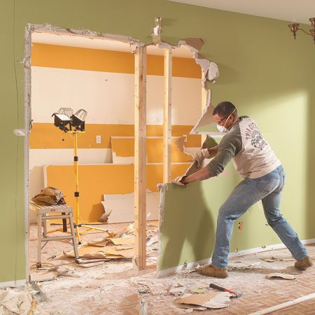 <b>Demolition </b></br> Drywall removal goes quickly.
