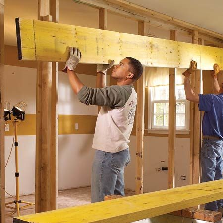 <b>Installing the beam is a two-person job</b></br> <p>LVL beams are heavier than standard lumber. Get help lifting them.</p>