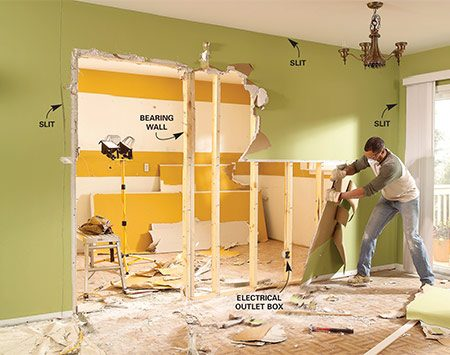 <b>Photo 1: Remove the drywall</b></br> <p>Bang holes in the wall and check for obstructions. Remove any trim, slit the tape joint along the ceiling and adjoining walls, then remove the drywall from both sides of the wall.</p>