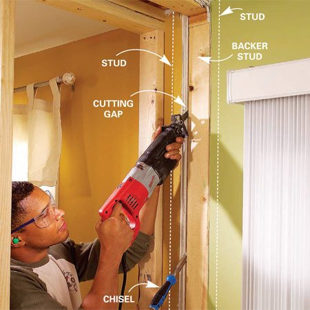 Remove the backer studs to make room for new trimmer studs when you install the load bearing beam.