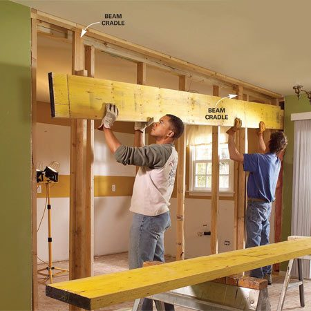 <b>Photo 9: Set the beam in place </b></br> <p>Cut the beam to length and cut notches to clear tie plates in adjoining walls. Then slip the beam members into place and rest them on the temporary cradles.</p>