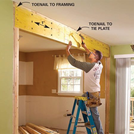 Nail the load bearing beam to the existing framing when you install it.