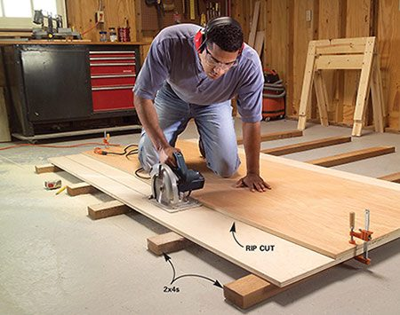 <b>Support the plywood</b></br> Full support means that the cut-off piece won't splinter and fall when you reach the end of the cut.