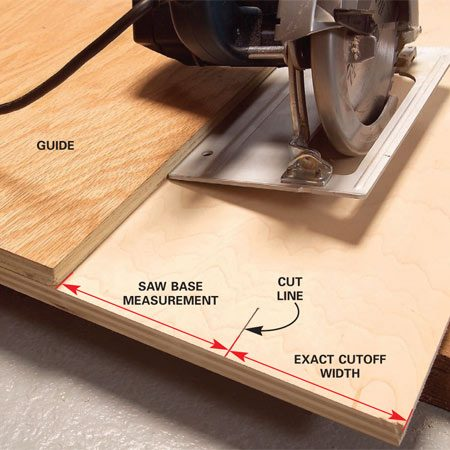 <b>Photo 2: Set the guide</b></br> Set the guide the measured distance from the cut line. Remember to allow for the thickness of the saw blade.
