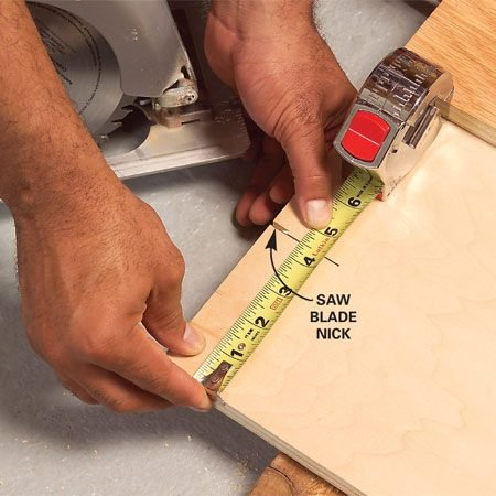 <b>Double check the cut</b></br> Nick the wood, then stop the saw and measure to make sure the cut is accurate.