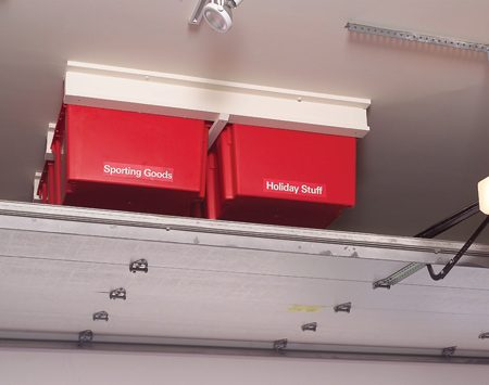 <b>Utilize dead space</b></br> Install the system in the empty area above the garage door.