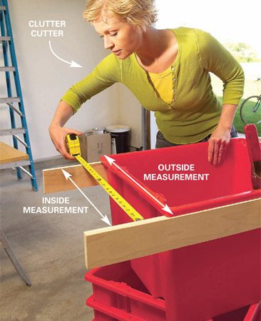 <b>Photo 1: Measure</b></br> Measure the top of the tote to determine the width of the tote rims (3/4 in.) and the size of the bottom flanges of the carriages (in our case, 3 in.).