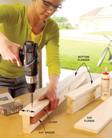 <b>Photo 2: Bottom flanges</b></br> Cut 3-in.-wide strips of 3/4-in. plywood for the bottom flange. Center them on 4-ft.-long 2x4s, then glue and screw them. Use 2-in. screws every 10 in.