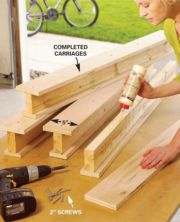 <b>Photo 3: Complete the carriages</b></br> Flip the carriage assemblies over. Center the 5-in.- wide plywood top flanges and glue and screw them to complete the carriage assemblies.
