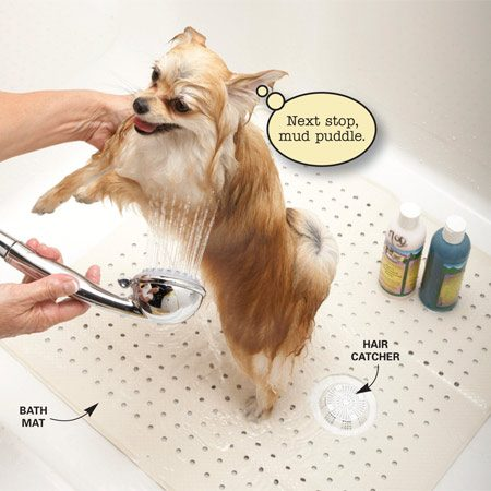 <b>Turn the shower into a dog washing station</b></br> For a calmer and easier bath time, make a dog washing station in your shower. Cover the drain with a hair catcher ($3.50 at hardware stores) to prevent fur from clogging it. Cut a hole in a bath mat so it fits over the drain and lay it in the shower to prevent your dog from slipping around. Using a handheld sprayer gives you more control and lets you avoid spraying water into your pet's ears. Everyone involved will find bath day a whole lot more pleasant.