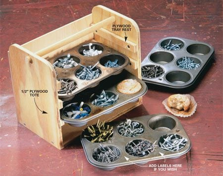 <b>Muffin tins are perfect for small parts </b></br> Put those neglected muffin tins  to work holding small fasteners, electrical parts and more. Screw together a tote from three pieces of 1/2-in.-thick plywood cut to fit the width and height of your trays. Screw plywood strips on the inside to act as drawer runners for the tins and glue or screw on a thin plywood back. The tote shown here holds four tins, but you can build it higher for even more storage capacity. Cut the plywood sides long enough so there's room to add a 3/4-in. - diameter dowel handle.