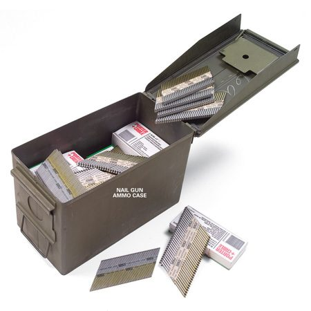 <b>Steel boxes keep parts from rusting</b></br> For rust-free storage of expensive air nailer fasteners, use steel ammunition boxes from an army surplus store. They have a watertight seal to help prevent corrosion and they're cheap (about $5).