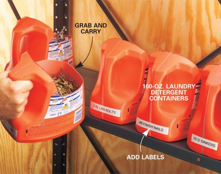 <b>Portable hardware bins are easy to carry</b></br> Label the bins, load them up, and you're ready to snag a handful when needed or carry a bin or two right to the job site.