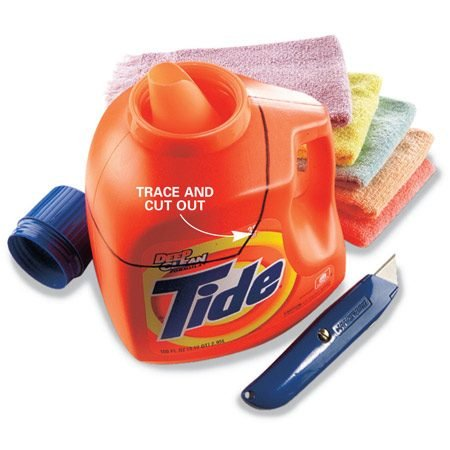 <b>Recycle laundry detergent bottles</b></br> Save those 100-oz. laundry detergent bottles and use them to hold jumbo supplies of screws and nails. Cut the top off the bottle to create a wide-mouth bin with a built-in handle.