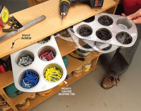 <b>Install muffin tins under shelves</b></br> Work surface cluttered with miscellaneous nails, screws, hardware, whatever? Clean it up and still keep that stuff at your fingertips. Attach a muffin tin under a shelf with a single 1/4-in. x 1-1/2-in. flat head machine screw. The tin pivots out from beneath work surfaces to organize and serve up any little doodad you frequently use. And you store all that little stuff without using up a single square inch of workspace.