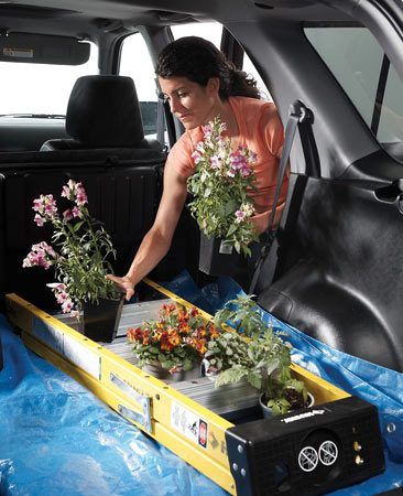 <b>Step ladder keeps plants from tipping</b></br> The spaces between the rungs of a stepladder are great spots to transport tender plants. No more messy spills during turns!