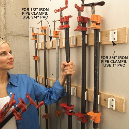 <b>PVC pipe grips clamps tightly</b></br> Here's a slick snap-in, snap-out storage rack made from PVC pipe. For 1/2-in.-diameter iron pipe, use 3/4-in. PVC, and for 3/4-in.-diameter pipe use1-in. PVC. To make the rack, cut 2-in. lengths of PVC, and with a hacksaw or band saw, slice them lengthwise about 3/16 in. past the diameter's center line. This creates the gripping action to firmly hold the heavy iron pipe.