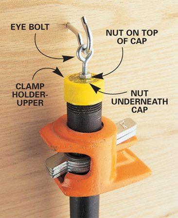 <b>Hang clamps on the wall using caps</b></br> Since these caps screw tightly on 3/4-in. pipe threads, you can use them to store your pipe clamps on a shop wall. Drill holes in the top of the caps, tighten eye bolts in the holes with nuts on both sides, then attach them to your clamps and hang them up.