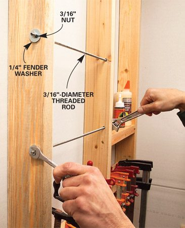 <b>Use threaded rod to hold spring clamps</b></br> To hold C - clamps and spring clamps, drill holes in the studs and install lengths of 3/16-in. threaded rod, tensioned with 1/4-in. fender washers and nuts.