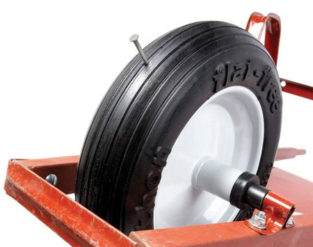 """<b>Buy flat-free tires</b></br> Is the tire flat every time you go to use your wheelbarrow? Do you use your wheelbarrow on construction sites where nails can be a problem? If so, then you need a """"flat-free"""" wheelbarrow tire. Flat-free tires are filled with foam or made of urethane so they never need air and won't go flat if you run over a nail. You can also buy flat-free tires to fit lawn mowers, handcarts and lawn tractors. Expect to spend about $30 for a wheelbarrow tire. Find flat-free tires at home centers and online."""