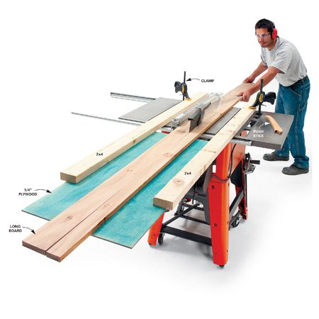 <b>An outfeed table supports long boards</b></br> Use an outfeed support when ripping long boards.