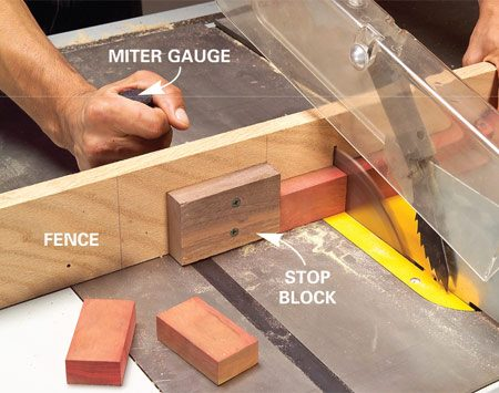<b>Attach a stop block</b></br> Fasten a stop block to the fence for repetitive, same size cuts.