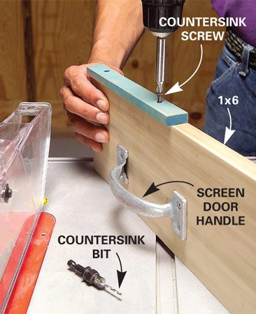 <b>Make a sliding jig</b></br> Build a sliding jig by attaching a handle and a strip of wood to a 1x6.