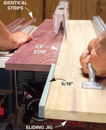 <b>Push the lumber with the jig</b></br> The sliding jig works like a long push stick.