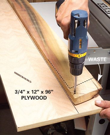 <b>Fasten the crooked board to plywood</b></br> Attach crooked lumber to plywood to get a straight cut
