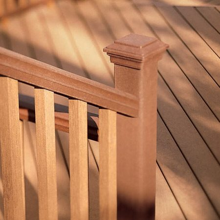<b>Composite railing</b></br> Composite railings and posts resemble wood and are worked with standard woodworking tools, but have a solid, appealing appearance all their own.