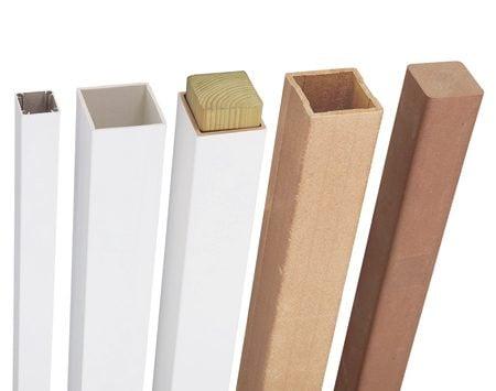 (From left) Aluminum, vinyl/plastic, PVC-coated composite, hollow composite, solid composite