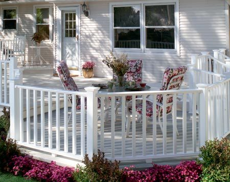 <b>Vinyl posts, railings and balusters</b></br> Vinyl railings retain a crisp white appearance and are easy to clean. They're hollow and typically require more parts for assembly.