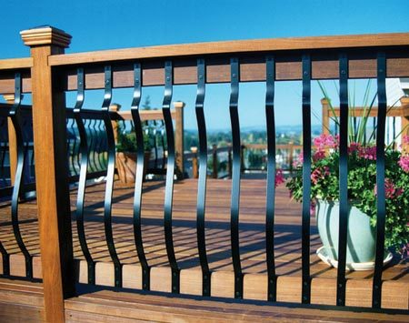 <b>Aluminum balusters</b></br> Aluminum balusters are inexpensive and available in a number of attractive designs in highly durable colored finishes. You should never have to refinish them. They eliminate that endless chore of cleaning and refinishing wood balusters.