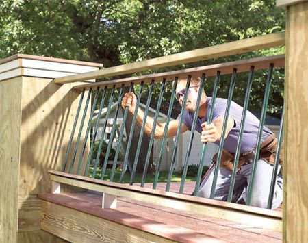<b>Aluminum balusters</b></br> Cut these factory-painted tubes to length and install them into the rails.
