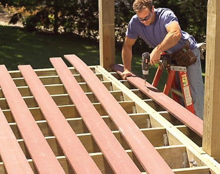 <b>Composite decking, railing and caps</b></br> Durable all-weather composite decking and boards are used on all flat surfaces.