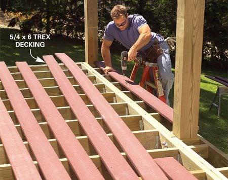 <b>Photo 5: Install the decking</b></br> Screw the decking to the tops of the joists, leaving a 1-1/2-in. overhang on the front and sides. Use special self-drilling trim screws.