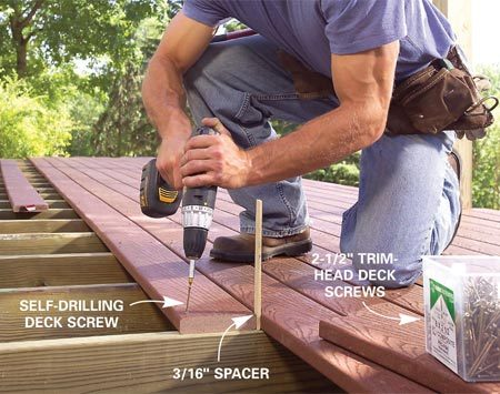 <b>Photo 6: Lay decking straight</b></br> Snap lines every 3 ft. as guidelines to make sure the decking courses run straight. Cut 3/16-in.- thick spacers for accurate spacing and stagger end joints.