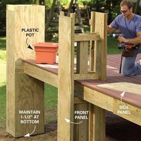 <b>Photo 8: Build the inner walls</b></br> Build the inner planter walls in two short sections and screw them to the outriggers. Then screw 3/4-in. plywood side panels into place to enclose the planters.