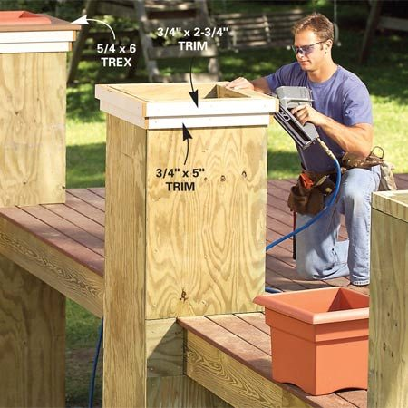 <b>Photo 9: Trim the planters</b></br> Trim the top sides of the planters with 3/4-in.-thick Miratec composite boards and cap the planters with 5/4 x 6 Trex decking screwed to the trim.