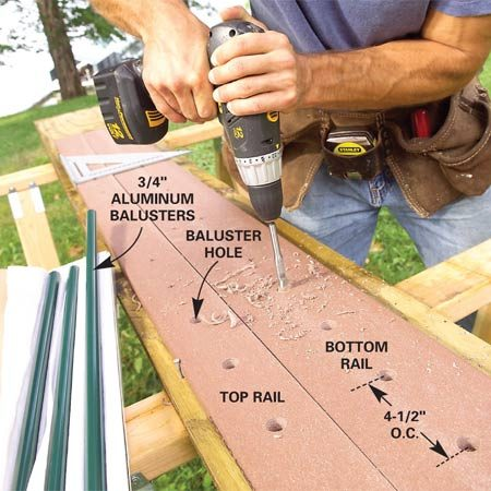 <b>Photo 10: Drill the rails</b></br> Drill the holes through the top and bottom rails for the aluminum tube balusters. Use an adjustable auger bit for holes slightly larger than 3/4 in.