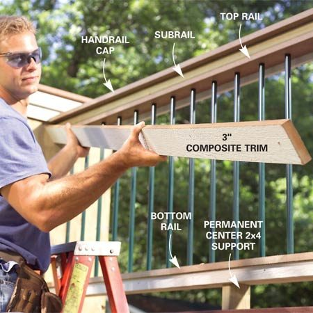 <b>Photo 12: Trim the railing</b></br> Cover the railing side joints with trim pieces. Secure the bottom center of each railing section with a treated 2x4 block screwed into place from above and below.