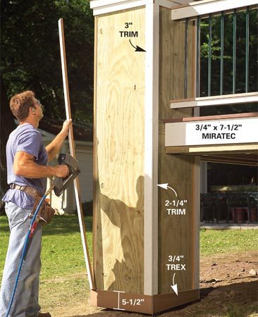 <b>Photo 13: Trim the plywood boxes</b></br> Trim the plywood planter boxes at the bottom with 3/4-in. Trex boards. Trim the vertical corners with ripped lengths of Miratec trim.